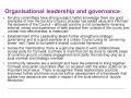 Organisational leadership and governance