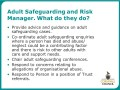 Role of Adult Safeguarding and Risk Manager