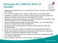 Priorities for LDPs for first 12 months