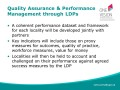 Quality Assurance & Performance     Management through LDPs